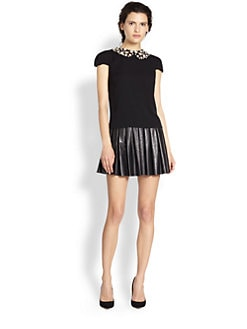 Alice + Olivia - Stretch Silk Beaded-Collar Top