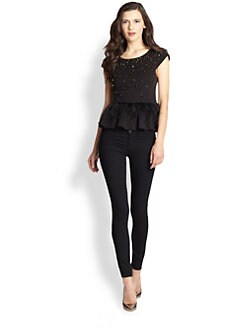 Alice + Olivia - Porter Beaded Feather Peplum Top