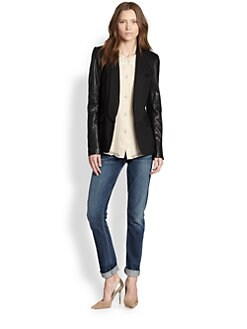 Alice + Olivia - Hartley Leather-Sleeve Blazer