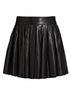 Alice + Olivia - Pleated Leather Skirt