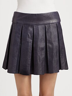 Alice + Olivia - Tam Leather Box-Pleat Skirt