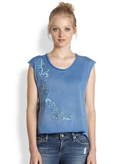 Alice + Olivia - Embroidered Cotton Jersey Tee