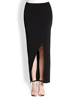 Alice + Olivia - Asymmetrical Wrap-Effect Stretch Jersey Maxi Skirt