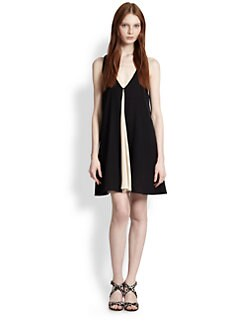 Alice + Olivia - Rola Leather-Trimmed Stretch Silk Trapeze Dress