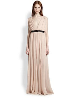 Alice + Olivia - Kendrick Leather-Trimmed Draped Maxi Dress