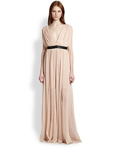 33b736303dd Alice + Olivia Kendrick Leather Trimmed Draped Maxi Dress Nude Lip ...