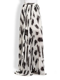 Alice + Olivia - Shannon Brush Stroke-Print Pleated Maxi Skirt