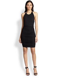 Alice + Olivia - Leather-Trimmed Open-Back Ruched Dress