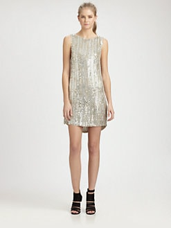 Alice + Olivia - Leighton Sequined Silk Dress