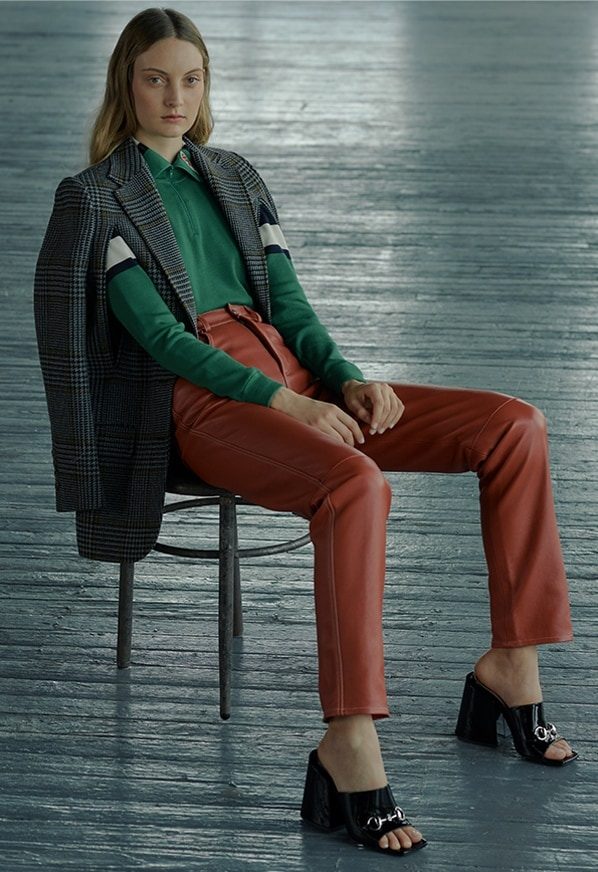 0d88a4a16 Gucci Check Cape Jacket, Leather Pants and High Neck Cashmere Stripe Sweater  at saks.