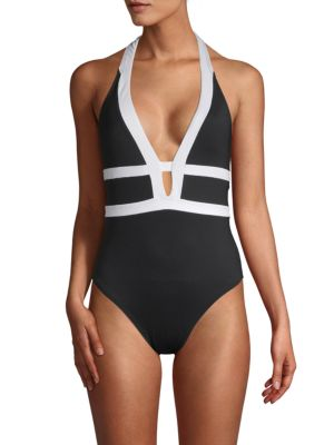LA BLANCA SWIM Halterneck One-Piece Swimsuit in Black