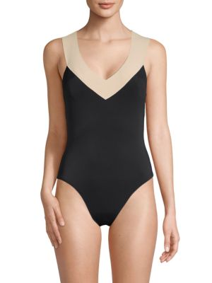 LA BLANCA SWIM Colorblock One-Piece Swimsuit in Black