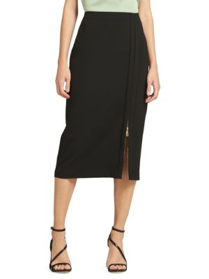 Horn Button Pull-On Pencil Skirt in Black from DKNY