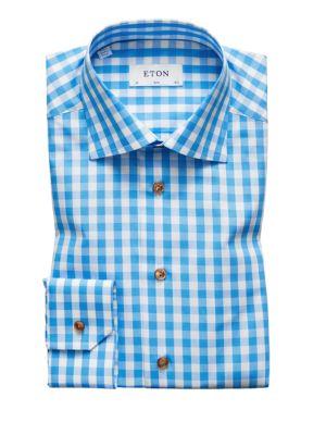 Slim Fit Gingham Plaid Dress Shirt in Blue White