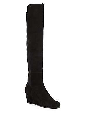Semi Suede Over the Knee Wedge Boots