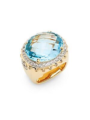 Bamboo Blue Topaz, White Sapphire & 18K Yellow Gold Ring