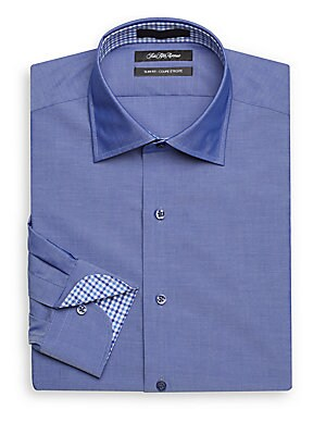 Slim-Fit Solid Cotton Dress Shirt