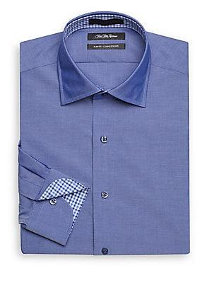 Slim-Fit Solid Cotton Dress Shirt
