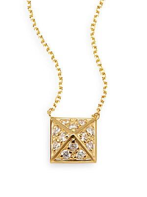 Brilliant 0.14 TCW Diamond & 14K Yellow Gold Pyramid Necklace