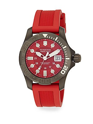 Diver Master Stainless Steel Rubber Strap Watch