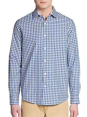 Slim-Fit Gingham Cotton Sportshirt