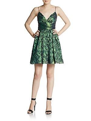 Metallic Surplice Fit-And-Flare Dress