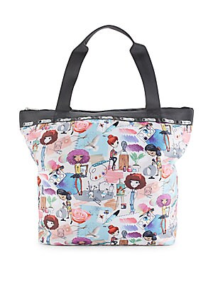 Top Zip Printed Handbag