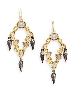 Elements Phoenix Labradorite & Swarovski Crystal Chandelier Drop Earrings