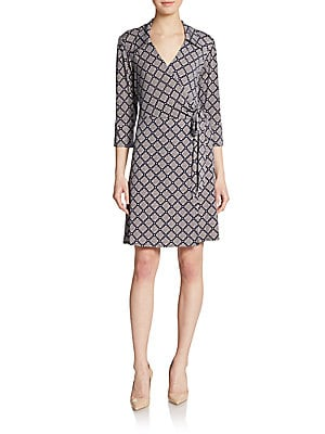 Tile-Print Wrap Dress