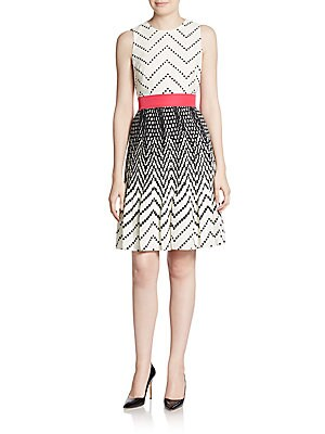 Geometric Print Pleated Fit-And-Flare Dress