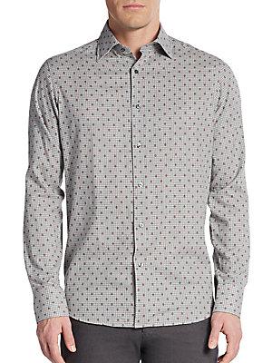 Regular-Fit Neat Diamond Check Cotton Sportshirt