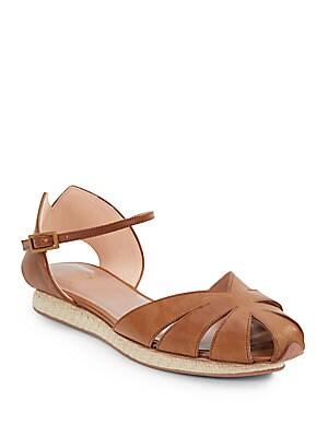 Taco Leather & Basket-Weave Sandals