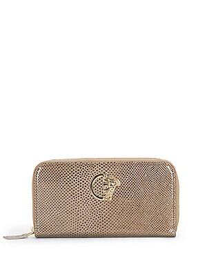 Snake-Print Leather Zip Wallet
