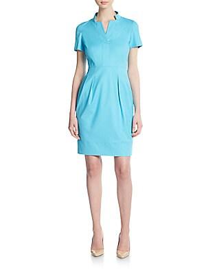Yaelle Notched Short-Sleeve Dress