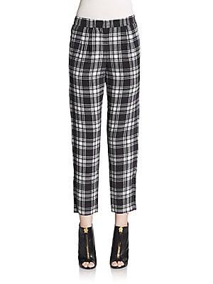 Hadley Plaid Silk Pants