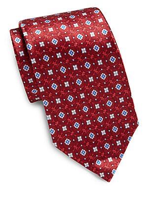 Arabesque Print Silk Tie