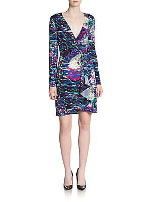 Adele Abstract Print Wrap Dress