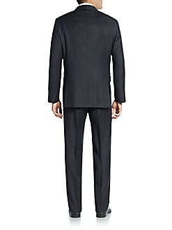 Regular-Fit Pinstriped Worsted Wool Suit
