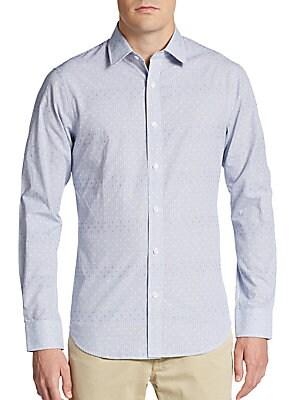 Regular-Fit Printed Cotton Sportshirt