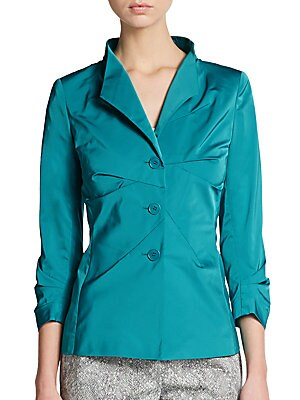 Collared Pleat-Front Jacket