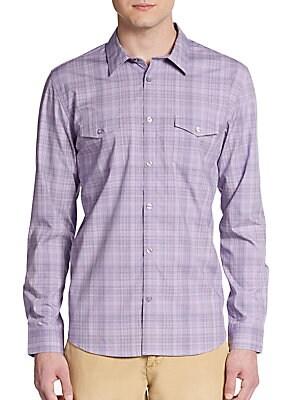 Regular-Fit Tonal Plaid Cotton Sportshirt