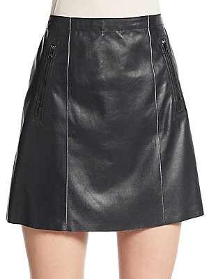 Bitone Leather Mini Skirt
