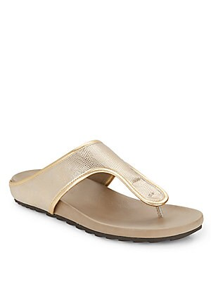 Merie Metallic Leather Thong Sandals