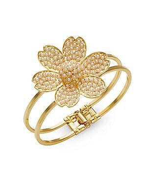 Faux Pearl Floral Bracelet