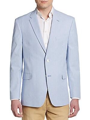 Regular-Fit Pinstripe Cotton Sportcoat