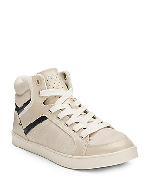 Sawyer Leather-Trim High-Top Sneakers