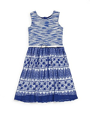 Girl's Belted Lace Dress