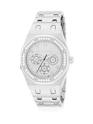 Swarovski Crystal Bezel Stainless Steel Bracelet Watch