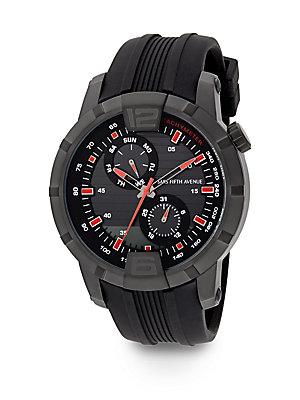 Blackened Stainless Steel & Rubber Multi-Function Watch