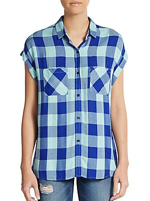 Britt Plaid Button-Front Top